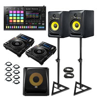 Pioneer XDJ-1000MK2 with Toraiz SP-16 sampler and KRK Studio Monitors DJ Package