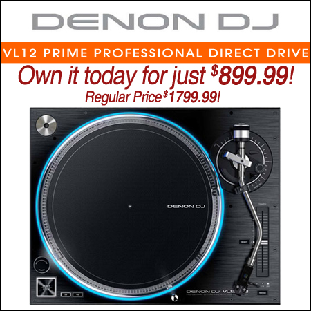 Denon DJ VL12 Prime Professional Direct Drive Turntable with True Quartz Lock