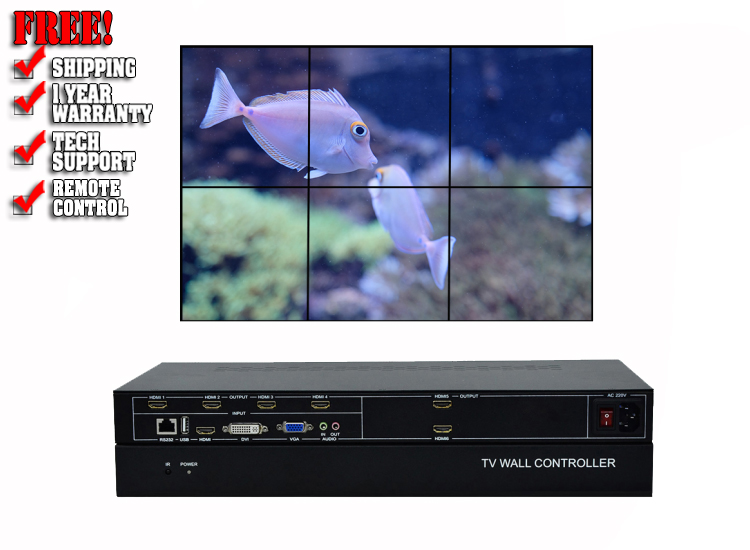 2x3 video wall controller with Rs232 and remote control
