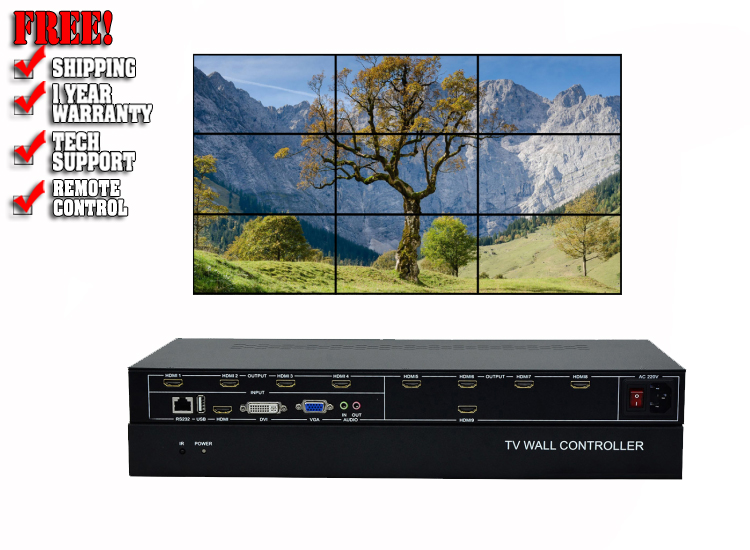3x3 video wall controller with Rs232 and remote control