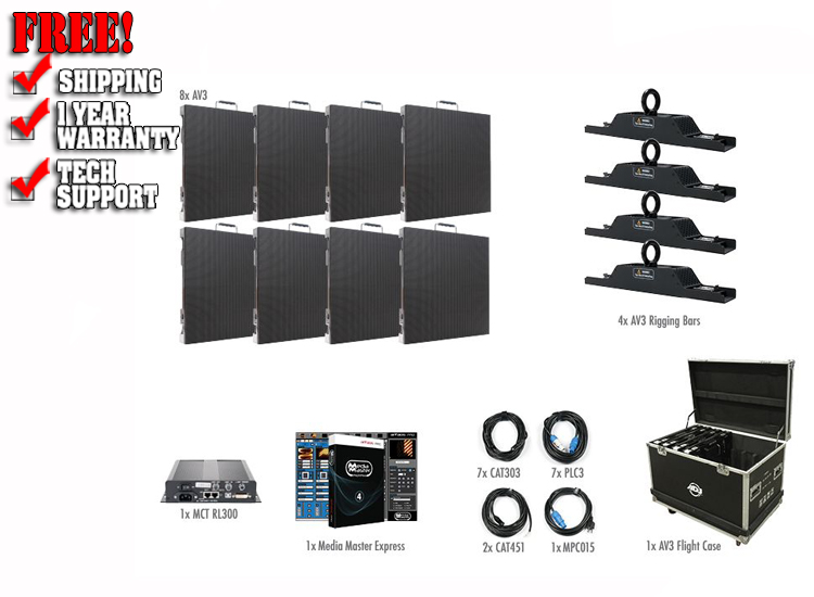 ADJ AV3 4X2-Touring Indoor 8 LED Video Panel Video System